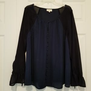 Mixed Media Long Sleeve Button-Up Top in Navy